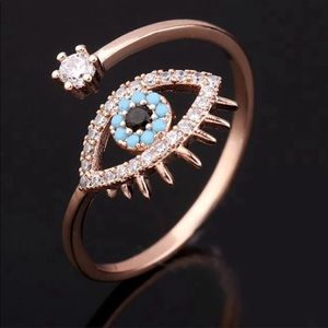 Jewelry - Rose Gold Evil Eye Hamsa adjustable midi ring NWT